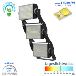 LED Sniper T900 - Fluter 900W | Abstrahlwinkel 30°, 60°, 90° & asymetrisch | 153.000 lm | 6000K tageslichtweiss | IP66 | 1-10V dimmbar | od. DALI dimmbar