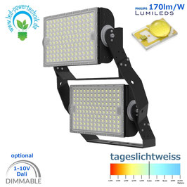 LED Sniper T900 - Fluter 600W | Abstrahlwinkel 30°, 60°, 90° & asymetrisch | 102.000 lm | 6000K tageslichtweiss | IP66 | 1-10V dimmbar | od. DALI dimmbar