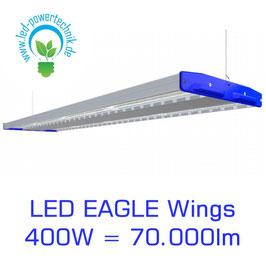 LED Eagle Wings Hallenleuchte 400W | 60°, 90°, 120° Abstrahlwinkel | 70.000 lm | 3000K - 6000 K | IP54 | 1-10V dimmbar | 3 Sensoren zur Auswahl