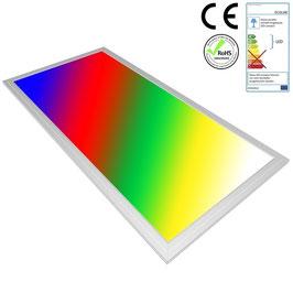 LED RGB Panel 60x30cm, 16W, ultraflach, 105°, inkl. Netzteil, Rahmenfarbe silber