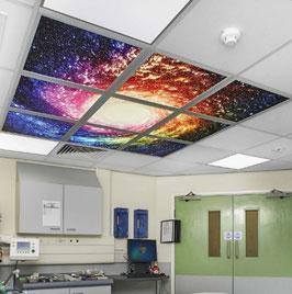LED Deckenhimmel 1.80m x 1.80m - Set 9 Stück LED Panel 60x60cm, 48W, 6000-6500k, 0-10V dimmbar, inkl. Druck und Netzteil, Rahmenfarbe weiß
