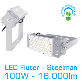 LED Steelman - Fluter 100W | 10°, 30°, 60°, 90°, 120° Abstrahlwinkel | 16.000 lm | 6000K tageslichtweiss | IP66 | 1-10V dimmbar |