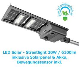 LED Solar - Streetlight |  30 Watt  | 3000K - 6000K | 6100lm | IP65  | dimmbar | inkl. Bewegungsmelder