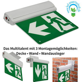 LED Multi Pro3 Fluchtwegleuchte Erkennung 25m, IP20, Decken+Wandmontage