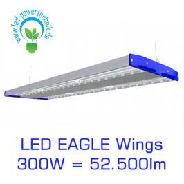 LED Eagle Wings Hallenleuchte 300W   60°, 90°, 120° Abstrahlwinkel   52.500 lm   3000K - 6000 K   IP54   1-10V dimmbar   3 Sensoren zur Auswahl