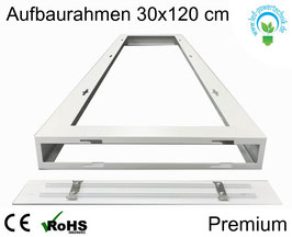 Aufbaurahmen Premium für alle 30x120cm LED Panele aus weiß lackiertem Aluminium