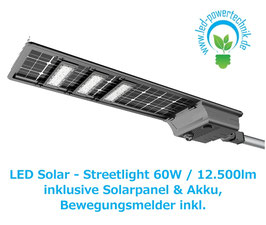 LED Solar - Streetlight | 60 Watt  | 3000K - 6000K | 12.500lm | IP65  | dimmbar | inkl. Bewegungsmelder
