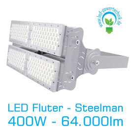 LED Steelman - Fluter 400W | 10°, 30°, 60°, 90°, 120° Abstrahlwinkel | 64.000 lm | 3000K warmweiss | IP66 | 1-10V dimmbar |