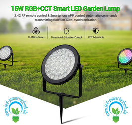 LED RGB-WW Outdoor Fluter 15W rund mit Funk & WLAN IP65