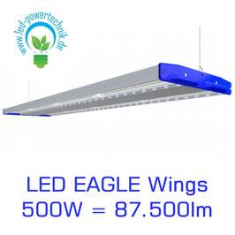 LED Eagle Wings Hallenleuchte 500W | 60°, 90°, 120° Abstrahlwinkel | 87.500 lm | 3000K - 6000 K | IP54 | 1-10V dimmbar | 3 Sensoren zur Auswahl