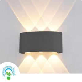 LED Wandleuchte Up&Down IP54, 6W CREE, sandschwarz, warmweiss