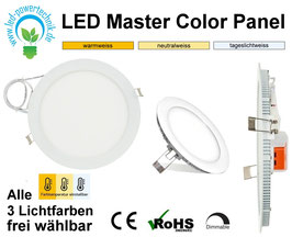 LED Master Color 3 Panel weiss rund 15W, 1500lm, 240mm, 3000k, 4000k, 6000k, dimmbar
