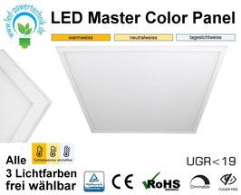 LED Master Color Panel 62x62cm, 40W, 3000k, 4000k, 6000k, UGR19, dimmbar, ultraflach, inkl. Netzteil, Rahmenfarbe weiß