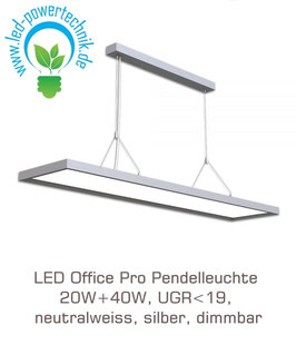 LED Office Pro Pendelleuchte 20W+40W, UGR<19, neutralweiss, 6.000lm, silber, dimmbar