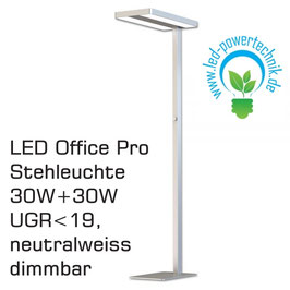 LED Office Pro Stehleuchte 30W+30W, UGR<19, neutralweiss, silber, dimmbar, 5500lm