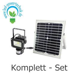 Solar LED Fluter 10W - 1.000lm, mit Bewegungsmelder in 5000K tageslichtweiss, inkl. Solar-Zelle & Akku