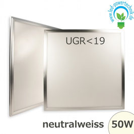LED Panel 600x600 diffuse UGR<19, 50W, Rahmen silber, neutralweiss
