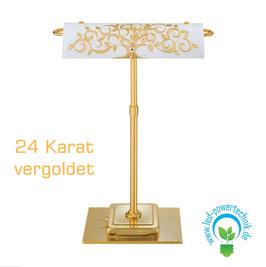 Tischleuchte BANKERS, Albero Gold, 24 Karat Gold, Länge 30cm, Breite 19cm, Höhe 43cm, 2-flammig, G9