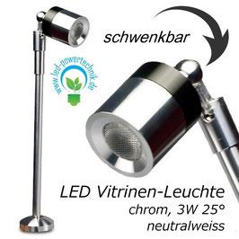 LED Vitrinen Leuchte 3 Watt, silber, Abstrahlwinkel 25°, 5000 Kelvin neutral-, tageslichtweiss, schwenkbar