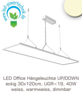 LED Office Hängeleuchte UP/DOWN, eckig 30x120cm, UGR<19, 40W, weiss, warmweiss, dimmbar