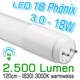 LED T8 Phönix 3.0 - 18W - 120cm, 830, 2.500lm, 3000K warmweiss