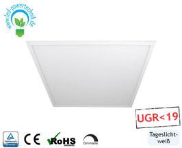 LED Panel 62x62cm, 40W, 6000K tageslichtweiß, 4.400 lm, dimmbar UGR<19, ultraflach, inkl. Netzteil, Rahmen weiß