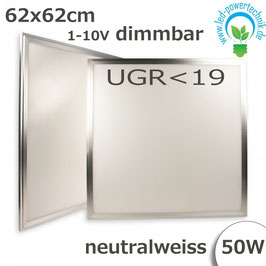LED Panel 62,5 x 62,5cm, UGR<19, 50W, silber, neutralweiss, 1-10V dimmbar