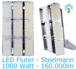 LED Steelman - Fluter 1000W | 10°, 30°, 60°, 90°, 120° Abstrahlwinkel | 160.000 lm | 3000K warmweiss | IP66 | 1-10V dimmbar |