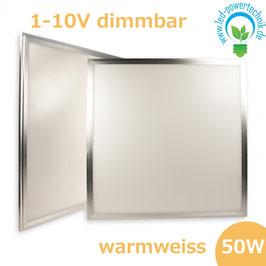 LED Paneel 600x600 diffuse, 50W, Rahmen silber, warmweiss, 1-10V dimmbar