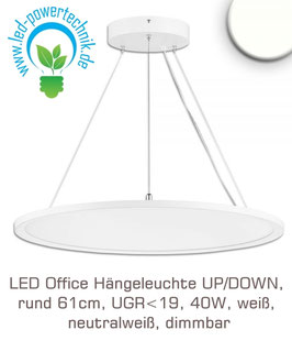 LED Office Hängeleuchte UP/DOWN, rund 61cm, UGR<19, 40W, weiss, neutralweiss, dimmbar