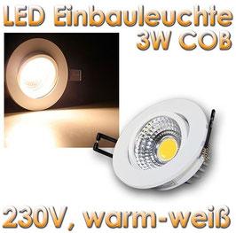 "LED Einbauleuchte ""COB-3"" weiß 3W 250lm warmweiß"