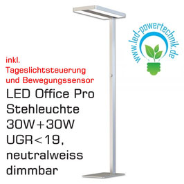 LED Office Pro Stehleuchte Daylight+Präsenz, 30W+30W, UGR<19, neutralweiss, silber, dimmbar, 5500lm