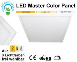 LED Master Color Panel 62x62cm, 40W, 3000k, 4000k, 6000k, dimmbar, ultraflach, inkl. Netzteil, Rahmenfarbe weiß
