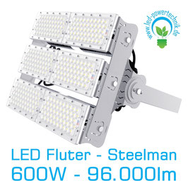 LED Steelman - Fluter 600W | 10°, 30°, 60°, 90°, 120° Abstrahlwinkel | 96.000 lm | 3000K warmweiss | IP66 | 1-10V dimmbar |