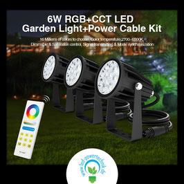3er Set - LED RGB-WW Outdoor Spots 6W inkl. Fernbedienung & WLAN Steuerung *** Schutzklasse IP65