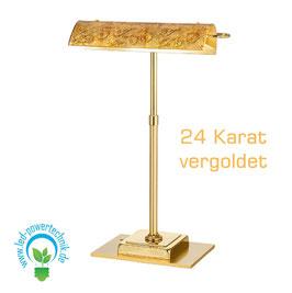 Tischleuchte BANKERS, Medici Gold, 24 Karat Gold, Länge 30cm, Breite 19cm, Höhe 43cm, 2-flammig, G9