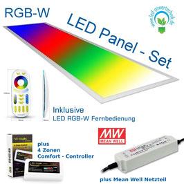 Komplettset inkl. LED RGB-WW Panel V3 44 Watt 295*1195mm, Mean Well Netzteil IP67, Controller - Steuerung mit Fernbedienung und bis zu 4 Zonen