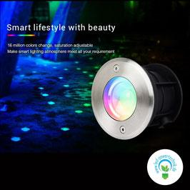 LED RGB-W Boden - Einbaustrahler 5W / IP68 / dimmbar - mit Fernbedienung od. Wlan Controller