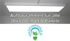 Aufbaurahmen für alle 30x120cm LED Panele aus weiß lackiertem Aluminium