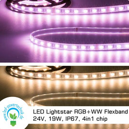LED Lightstar RGB+WW Flexband 24V, 19W, IP67, 4in1 chip, 5 Meter