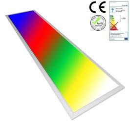 LED RGB Panel 120x30cm, 30W, ultraflach, 105°, inkl. Netzteil, Rahmenfarbe silber