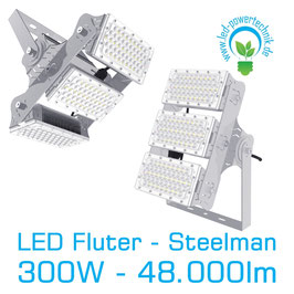 LED Steelman - Fluter 300W | 10°, 30°, 60°, 90°, 120° Abstrahlwinkel | 48.000 lm | 3000K warmweiss | IP66 | 1-10V dimmbar |