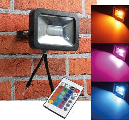 """LED-Fluter SlimLine 10W RGB"""" IP44, 230V, RGB mit Fernbedienung"""