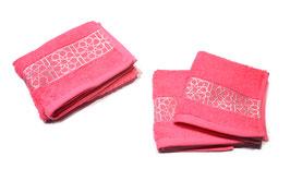 Pack serviettes brodées Zellij, pink et argent