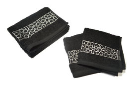 Pack serviettes brodées Zellij, noir et argent