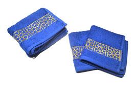 Pack serviettes brodées Zellij, bleu roy et or
