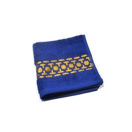 Serviette brodée Orient, bleu roy et or 30 x 30cm