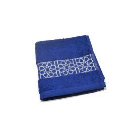 Serviette brodée Zellij, bleu roy et argent 30 x 30cm