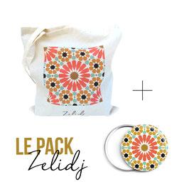 Pack tote-bag et miroir Zelidj - corail