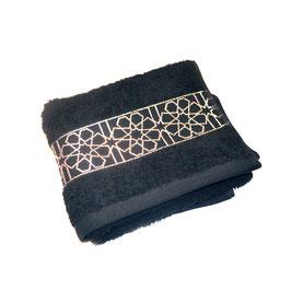 Serviette brodée Zellij, noir et argent 40 x 70cm